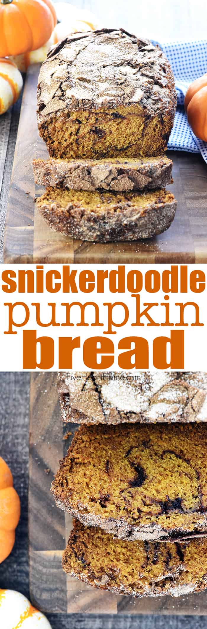 Snickerdoodle Pumpkin Bread ~ a sweet, moist pumpkin bread recipe, swirled and topped with a generous amount of cinnamon sugar for a delicious fall treat! | FiveHeartHome.com via @fivehearthome