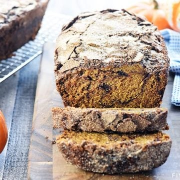 Snickerdoodle Pumpkin Bread ~ a sweet, moist pumpkin bread recipe, swirled and topped with a generous amount of cinnamon sugar, for a delicious fall treat! | FiveHeartHome.com