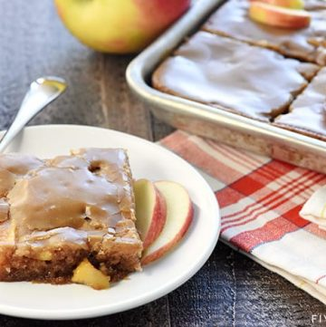 Caramel Apple Sheet Cake ~ a sweet, moist cake loaded with tender apples and topped with gooey caramel glaze...the perfect fall dessert for feeding a crowd! | FiveHeartHome.com