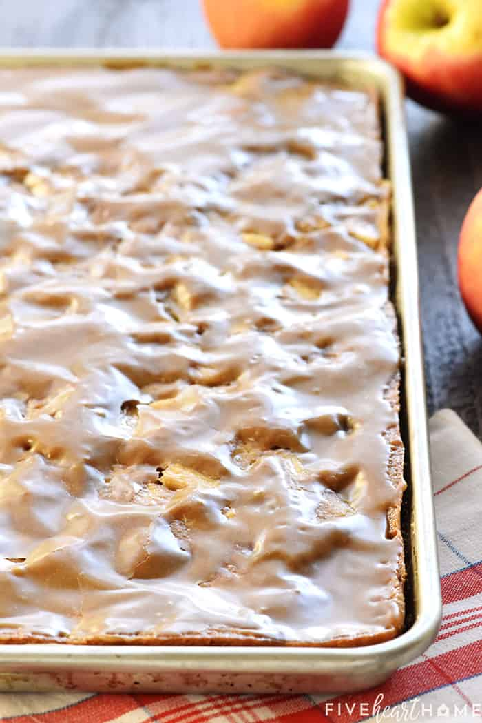 Apple Sheet Cake with Caramel Icing