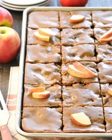 Caramel Apple Cake in a sheet pan