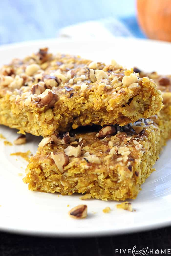 Healthy Pumpkin Breakfast Bars with Bite Taken Out