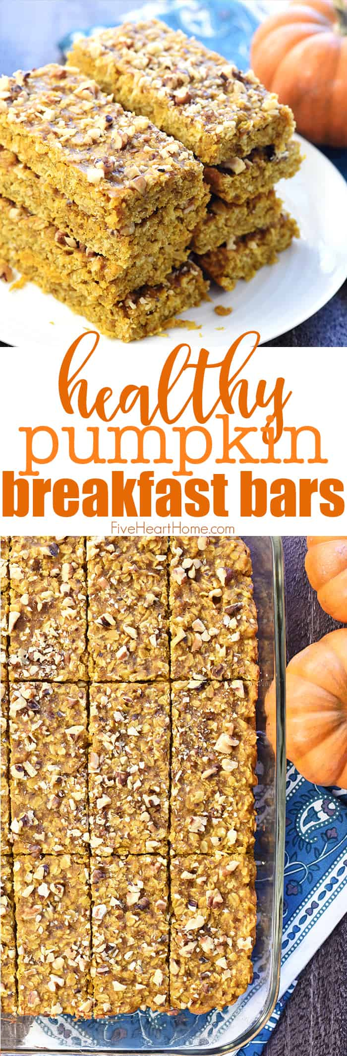 Healthy Pumpkin Breakfast Bars Collage with Text Overlay