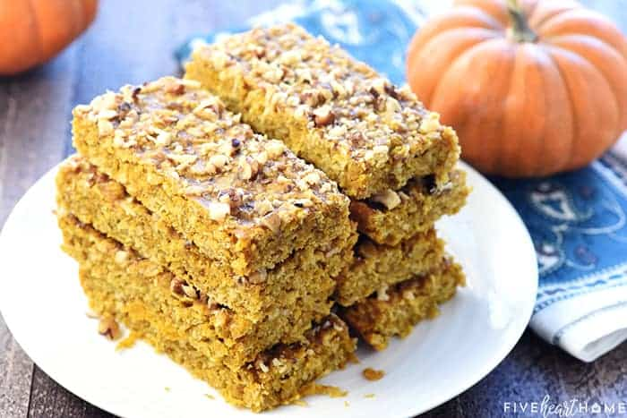 Healthy Pumpkin Breakfast Bars ~ soft-baked, chewy, and loaded with wholesome ingredients like oats, coconut oil, & honey for a grab-n-go breakfast or snack! | FiveHeartHome.com
