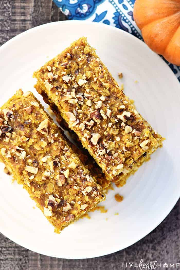Aerial View of Pumpkin Oat Bars Stacked on White Platter