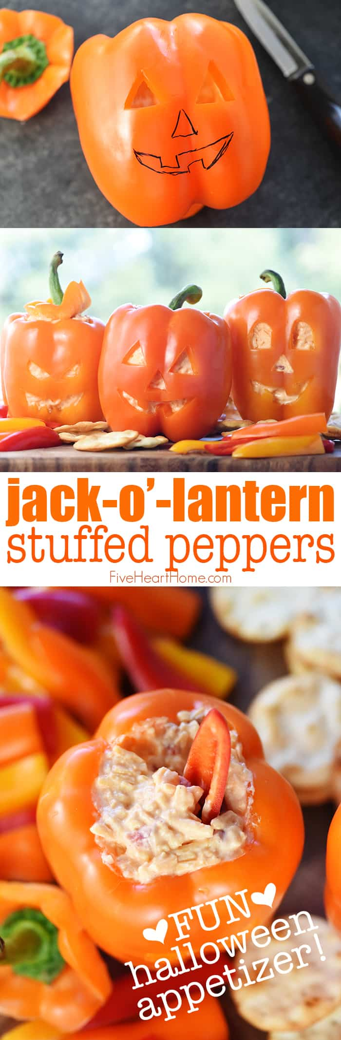Jack-o'-Lantern Stuffed Peppers ~ as simple as carving orange bell peppers and filling with pimento cheese dip for a fun and festive Halloween appetizer! | FiveHeartHome.com
