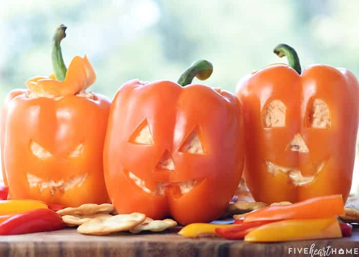 Jack-o'-Lantern Stuffed Peppers ~ Halloween Appetizer