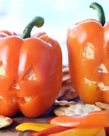 Jack-o'-Lantern Stuffed Peppers.