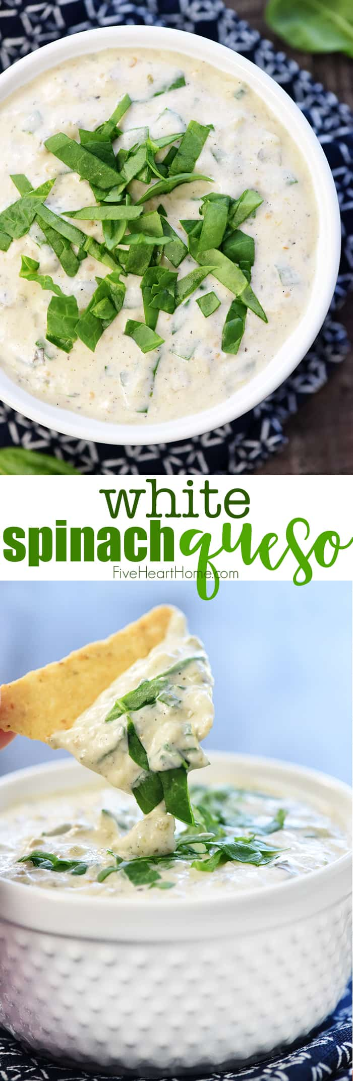 White Spinach Queso ~ a creamy, addictive, effortless dip made with four simple ingredients: cream cheese, Monterey Jack, salsa verde, & fresh chopped spinach! | FiveHeartHome.com