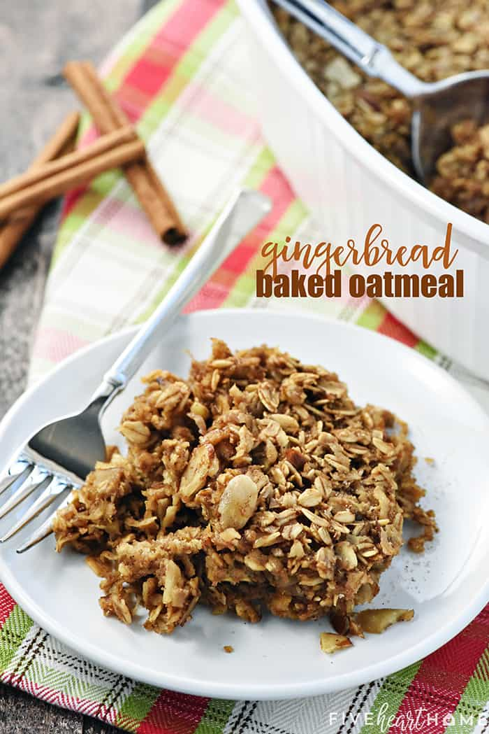 Gingerbread Baked Oatmeal Recipe with Text Overlay