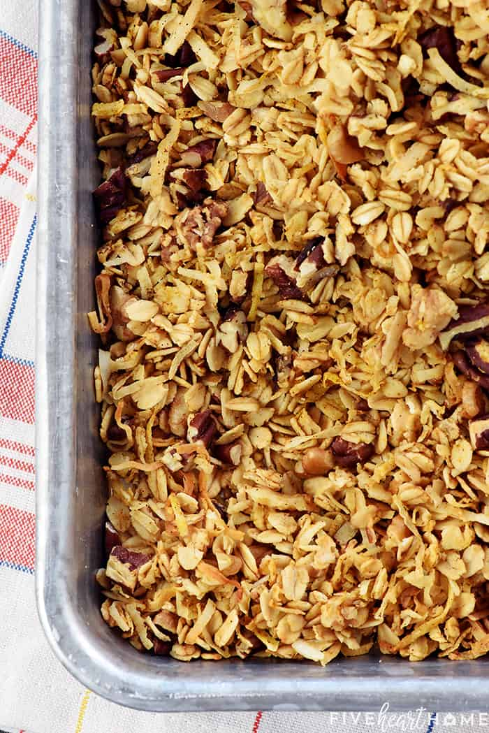 Aerial View of Pumpkin Granola in Baking Sheet
