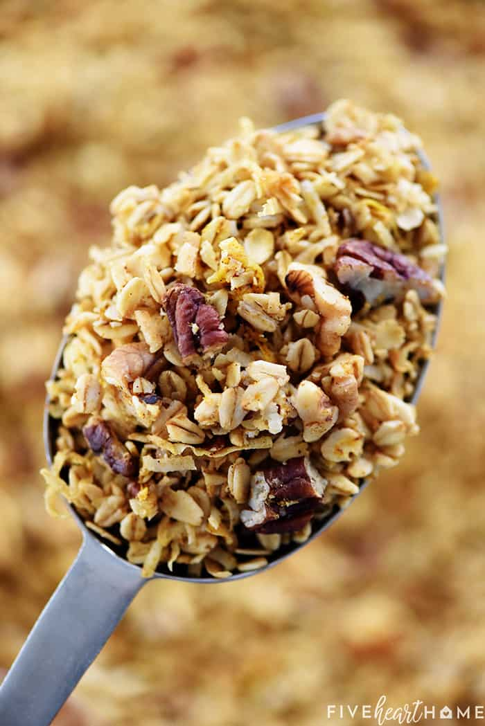 Close-Up of Easy Pumpkin Granola in Spoon