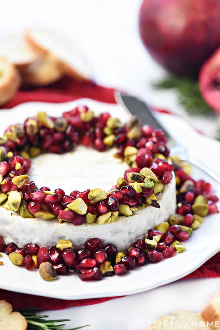Close-Up of Christmas Brie Appetizer on White Platter