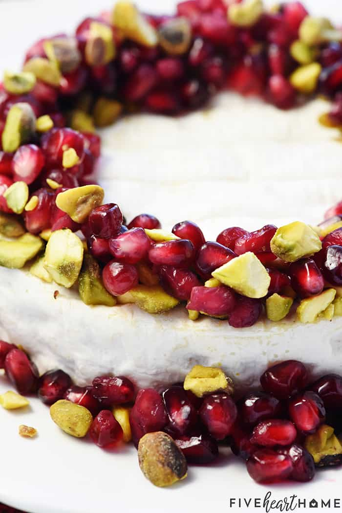 Close-Up of Brie with Pomegranate and Pistachios