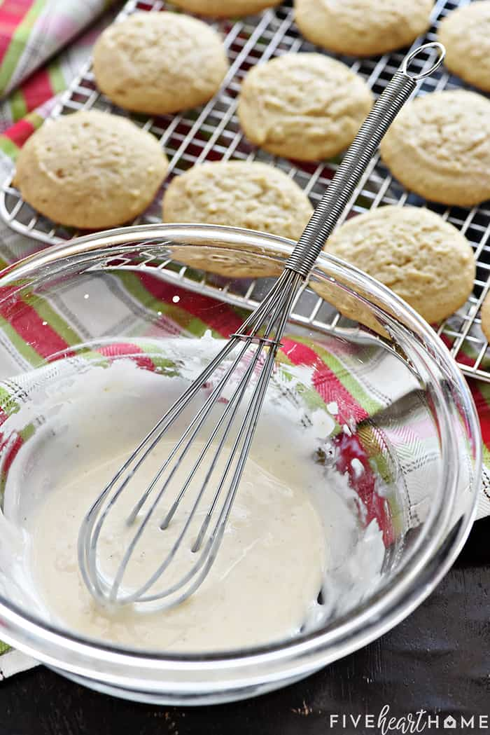 Whisk in Batter with Cookies on Cooling Rack