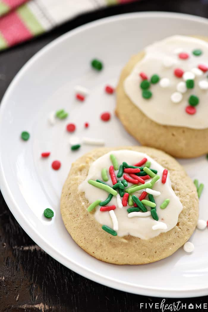 Eggnog Cookies with Festive Sprinkles