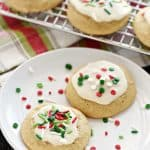 Eggnog Cookies ~ soft, tender, and delicately flavored with eggnog and spices before being topped with a sweet eggnog glaze and festive Christmas sprinkles! | FiveHeartHome.com