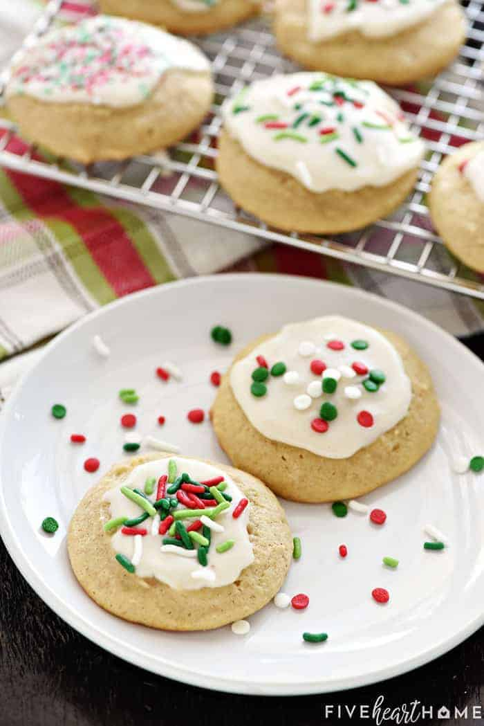 Two Cookies on White Plate with Festive Sprinkles