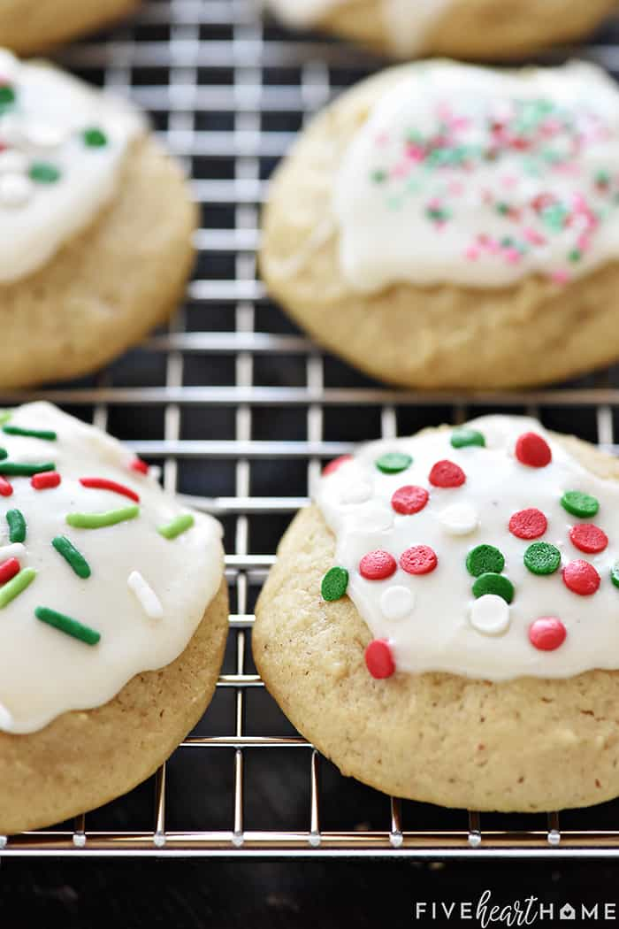 Easy Eggnog Cookies on Cooling Rack with Sprinkles