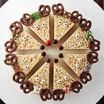 Aerial view of ring of Reindeer Rice Krispie Treats on a plate.