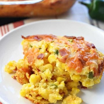 Ultimate Cornbread Casserole ~ with the addition of bacon, cheddar, and jalapeño, this flavorful, from-scratch recipe takes the classic side dish to a whole new level! | FiveHeartHome.com
