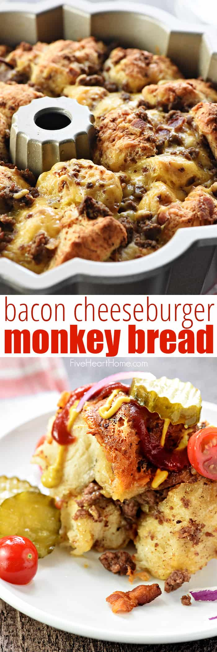 Bacon Cheeseburger Monkey Bread in pan and on plate