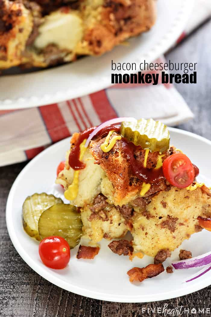 Bacon Cheeseburger Monkey Bread ~ loaded with ground beef, bacon, and cheddar, this gooey, savory, pull-apart recipe is a perfect appetizer for the Super Bowl or any party! | FiveHeartHome.com