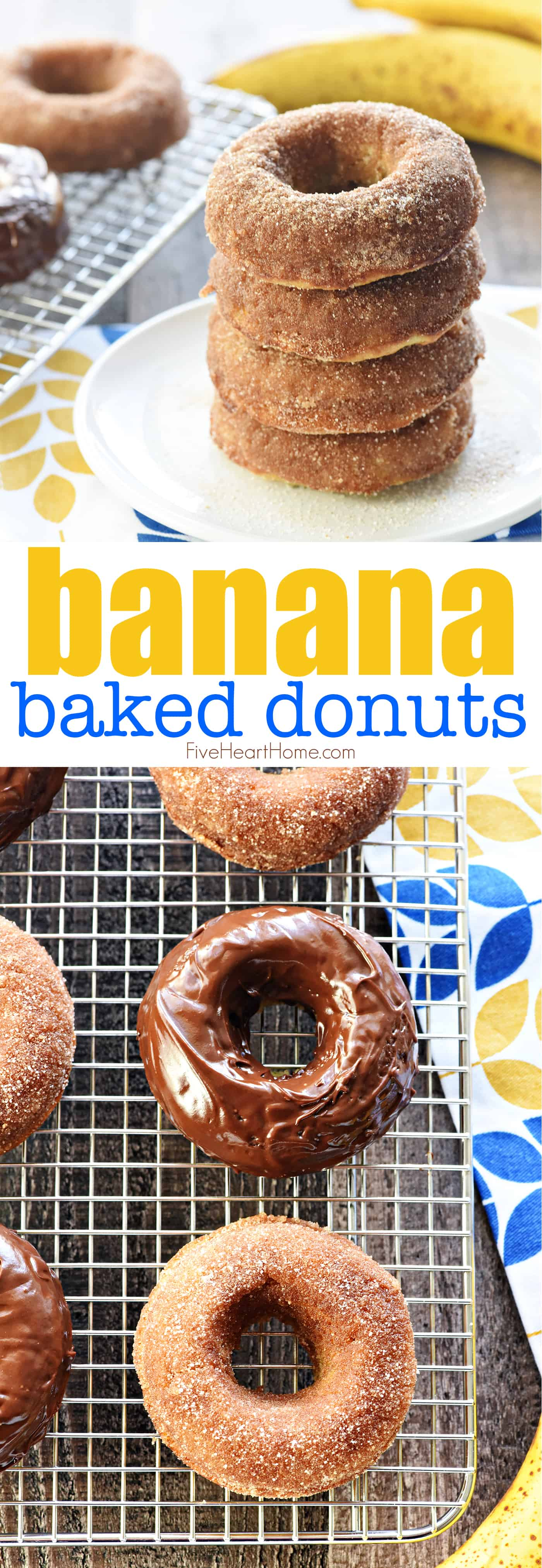 Banana Donuts on a plate and on a rack