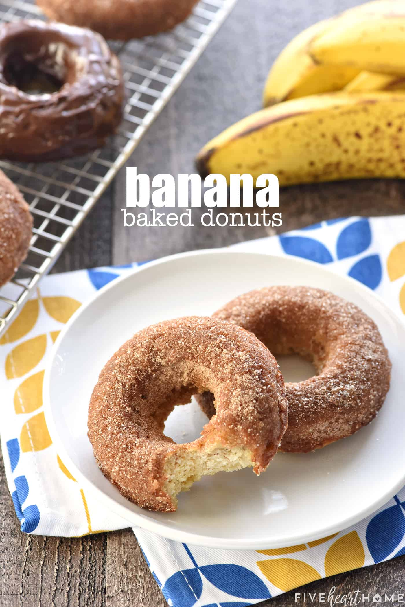 Baked Banana Donuts on a plate
