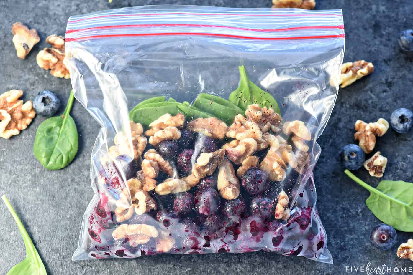 Freezer Smoothie Pack of blueberries, spinach, and walnuts