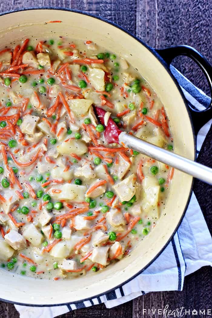 Easy Chicken Pot Pie Casserole filling in a pot