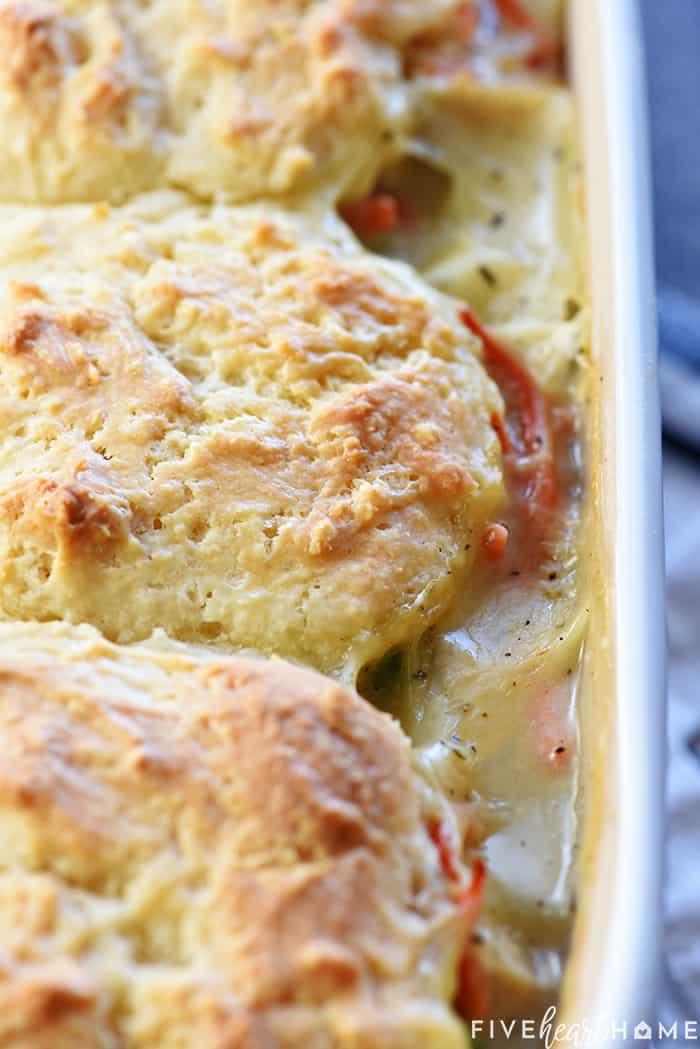 Close up of casserole dish