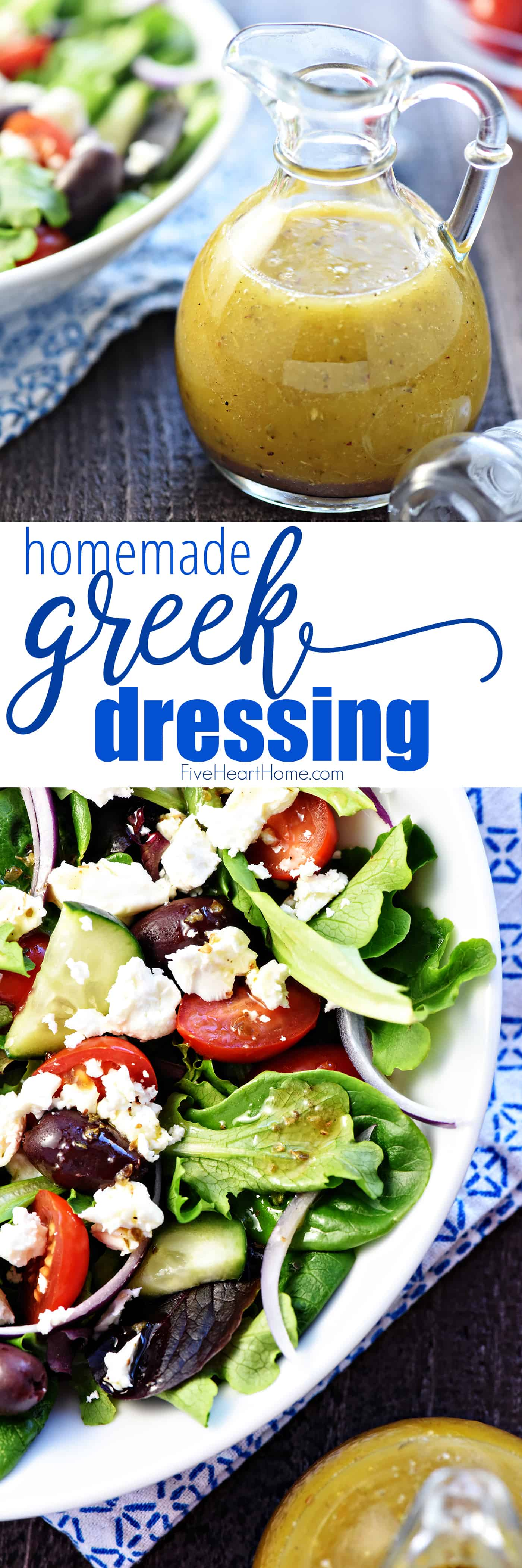 Homemade Greek Salad Dressing ~ tangy, easy to make, and delicious drizzled over a Greek salad with tomatoes, cucumbers, Kalamata olives, onions, and Feta! | FiveHeartHome.com via @fivehearthome