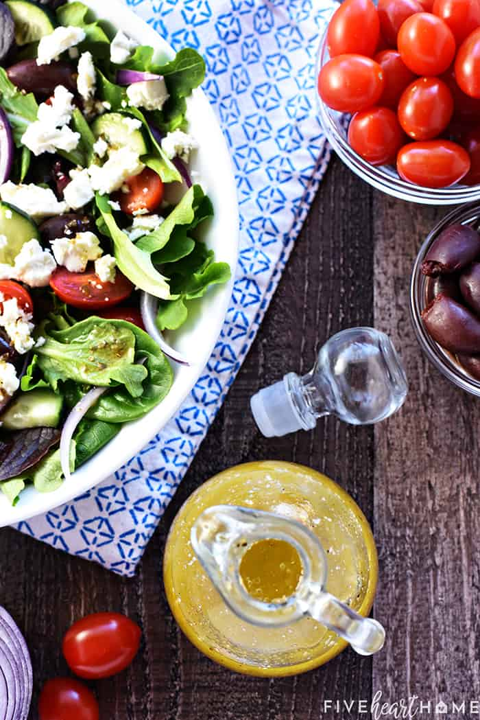 Greek salad ingredients and vinaigrette