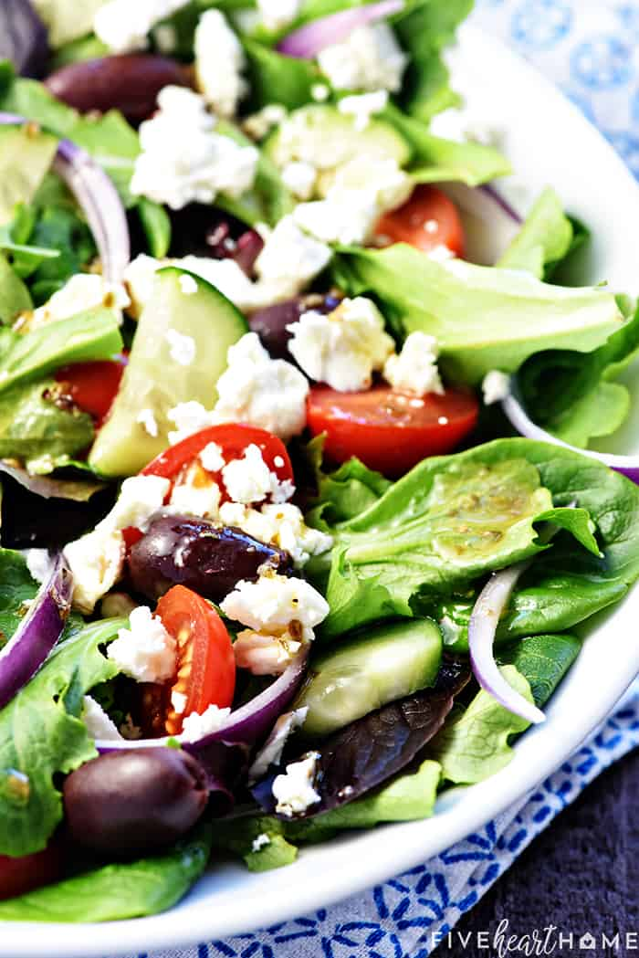 Close-up of salad with Greek ingredients