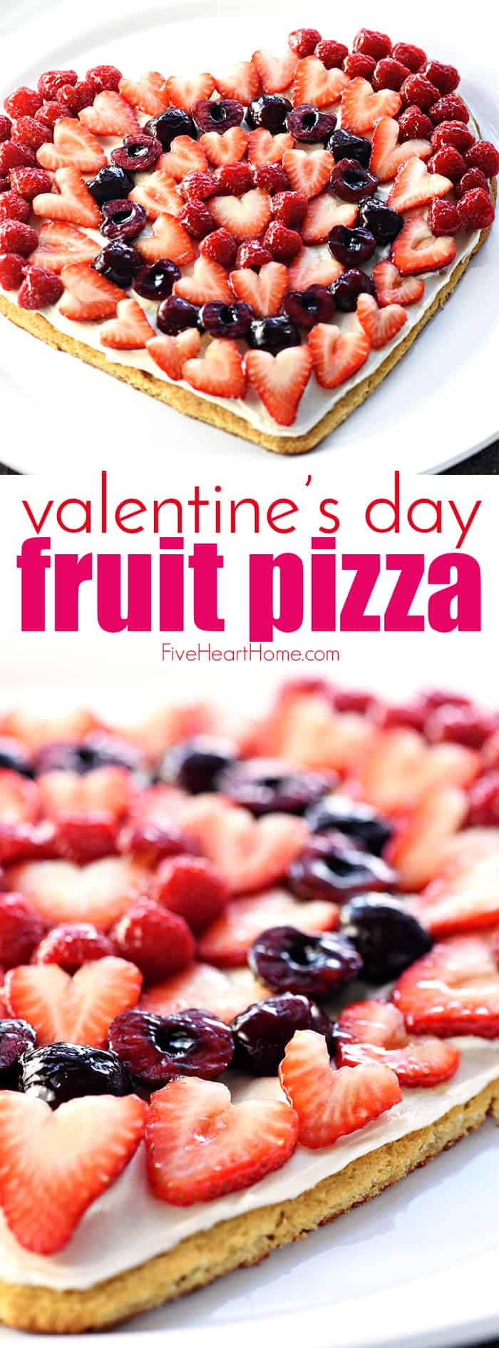 Valentine's Day Heart Shaped Fruit Pizza