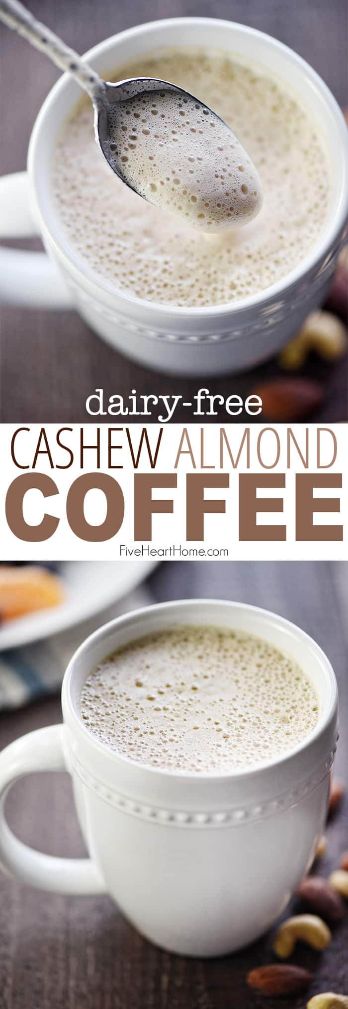 Almond Cashew Coffee ~ a rich, foamy, creamy latte made with NO DAIRY...the magical consistency and flavor are thanks to almonds, cashews, & maple syrup! | FiveHeartHome.com