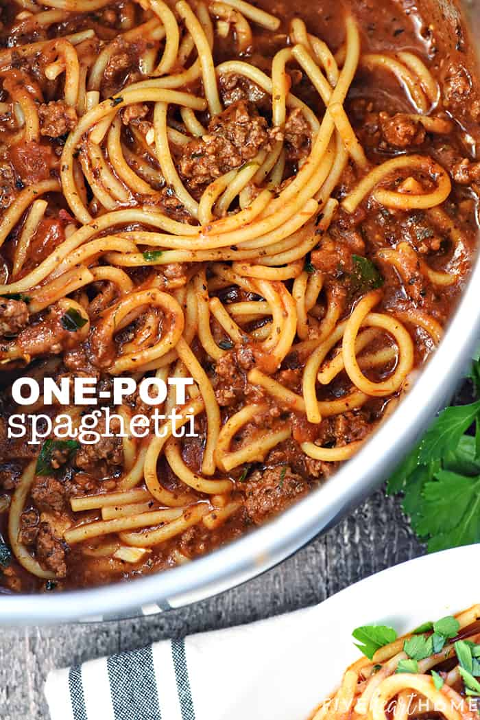One-Pot Spaghetti ~ spaghetti gets a makeover with this quick, easy, delicious one-pot recipe! It's a family-pleasing dinner for busy weeknights...with only one pot to wash! | FiveHeartHome.com