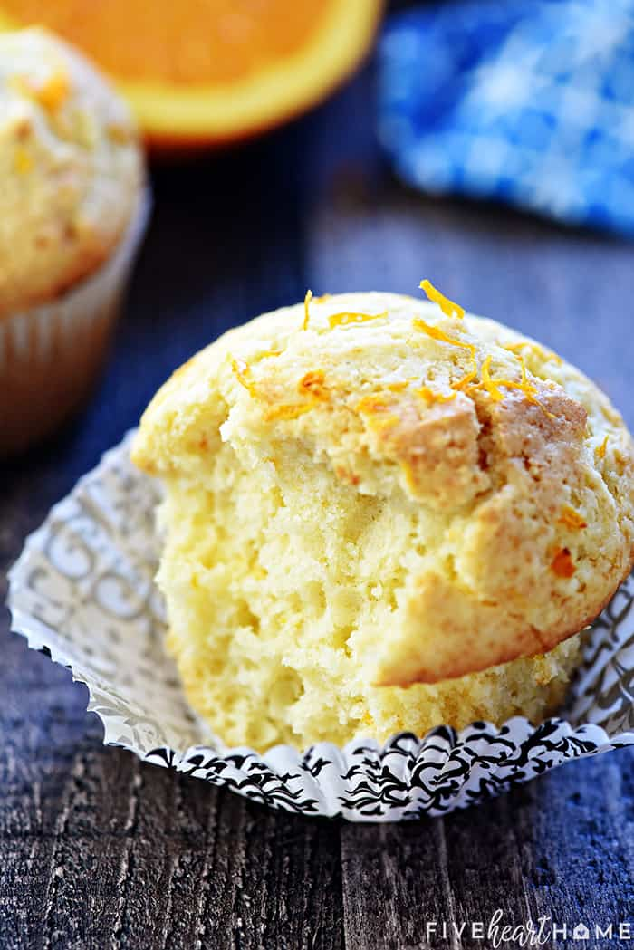 Orange Muffin with a bite missing