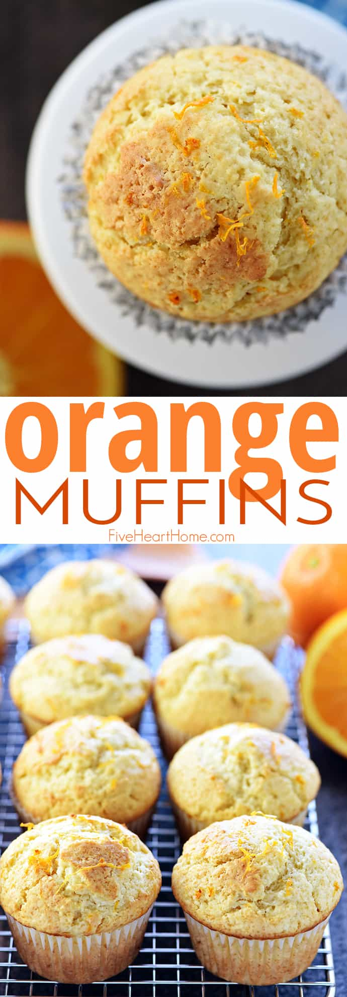 Orange Muffins in a wrapper and on a rack