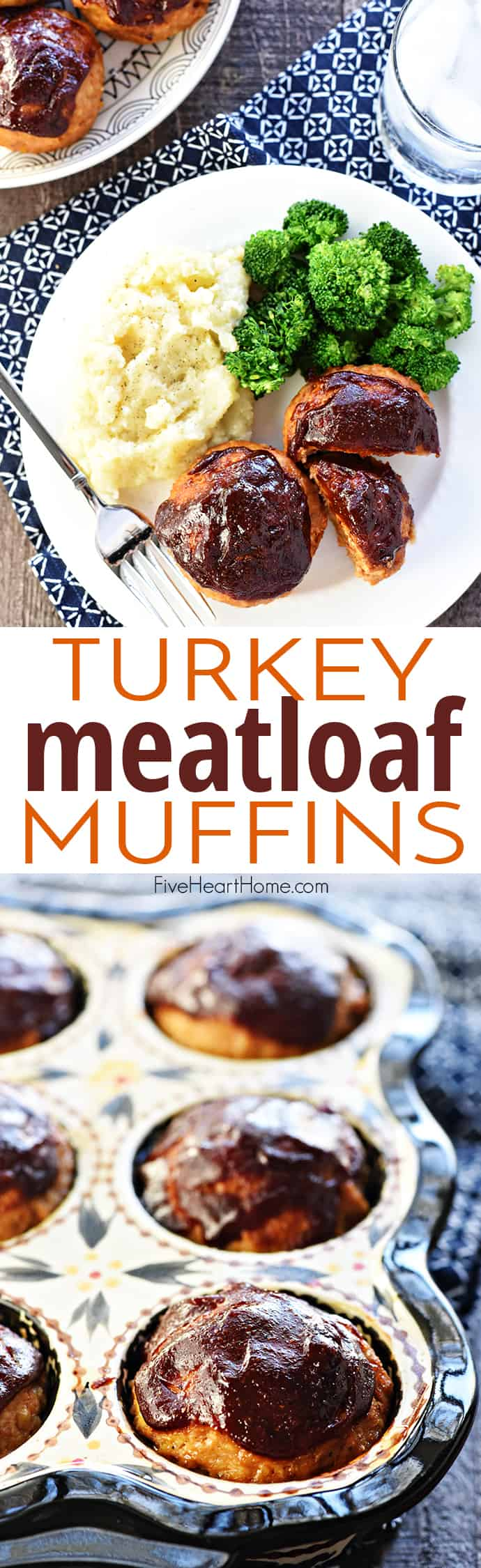 Turkey Meatloaf Muffins ~ this juicy, flavorful, quick to make recipe is also egg-free and gluten-free, with a tender texture and a yummy barbecue sauce glaze for an easy, family-pleasing dinner! | FiveHeartHome.com via @fivehearthome