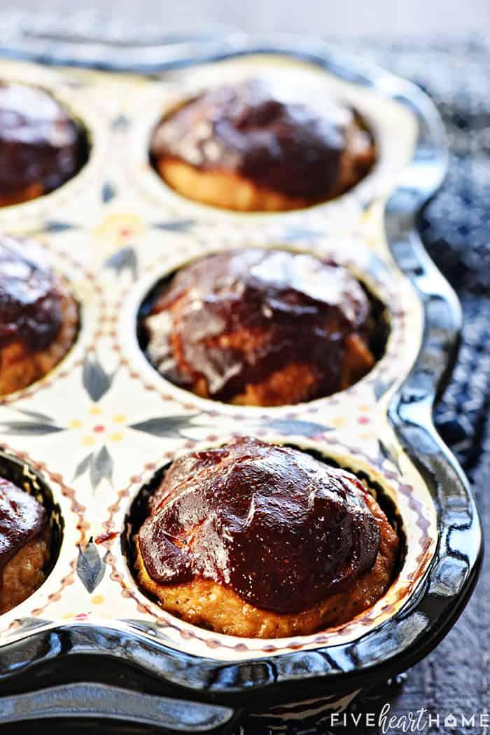 Turkey Meatloaf Muffins in baking pan.