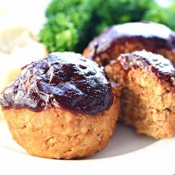 Turkey Meatloaf Muffins ~ this juicy, flavorful, quick to make recipe is also egg-free and gluten-free, with a tender texture and a yummy barbecue sauce glaze for an easy, family-pleasing dinner! | FiveHeartHome.com