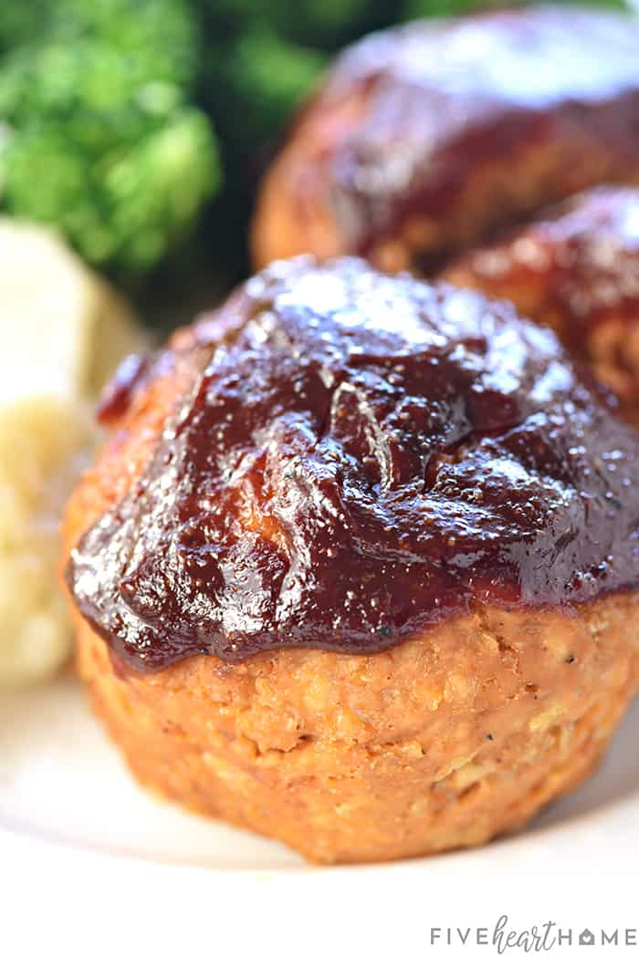 Turkey Meatloaf Muffins with barbecue sauce glaze