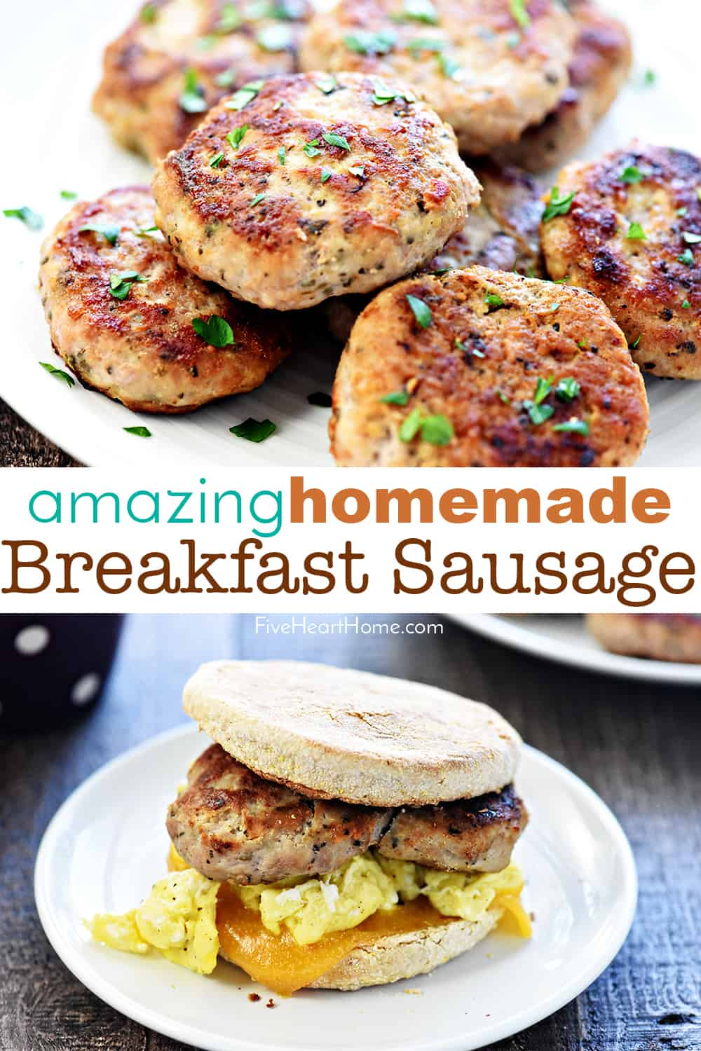 Amazing Homemade Breakfast Sausage ~ a flavorful blend of ground turkey, pork, and spices...delicious, easy to make, and you know exactly what's in it! | FiveHeartHome.com #breakfastsausage