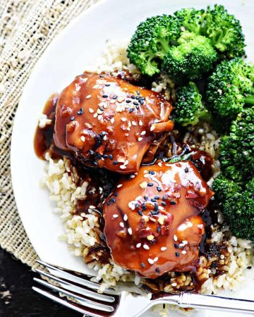 Instant Pot Teriyaki Chicken ~ an easy dinner recipe featuring chicken thighs in a sticky-sweet homemade sauce, served over rice or shredded in sandwiches! | FiveHeartHome.com