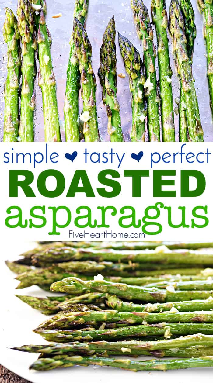 Roasted Asparagus on a pan and on a platter