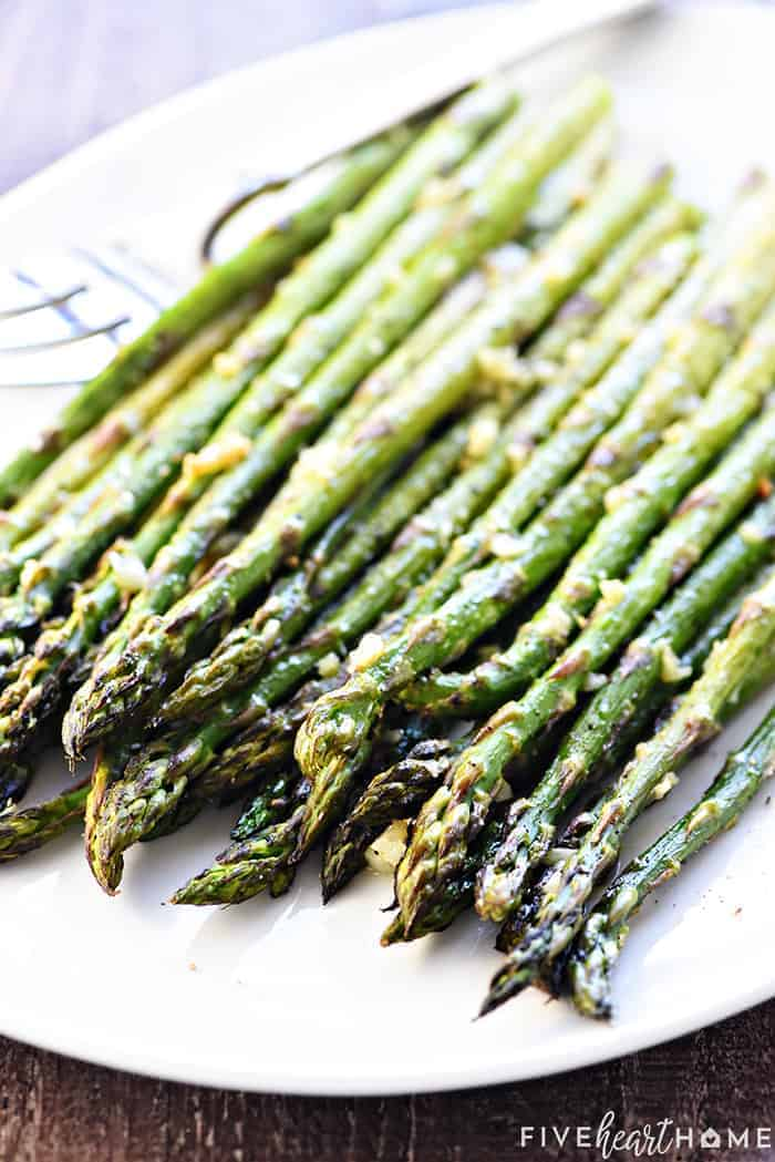 Baked Asparagus on a serving dish