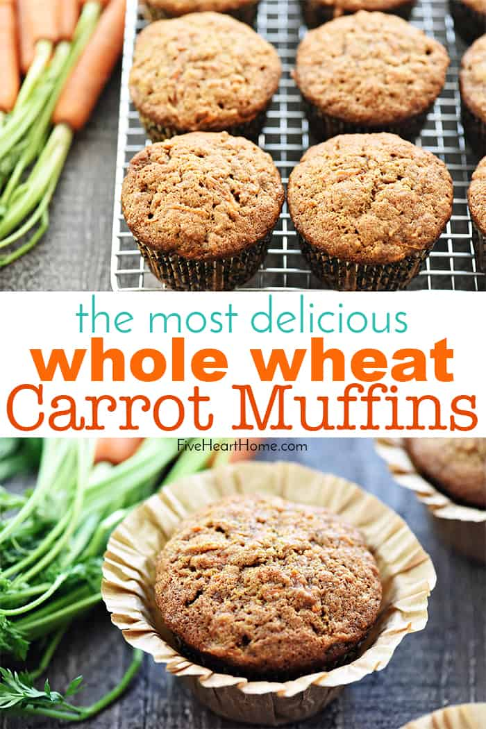 Whole Wheat Carrot Muffins ~ boast the deliciousness of carrot cake in a yummy, wholesome muffin that's great for breakfast, snacktime, or even dessert! | FiveHeartHome.com