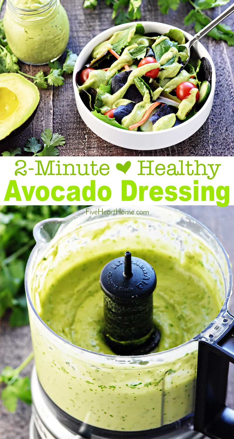 Dairy-Free Creamy Avocado Dressing collage with text